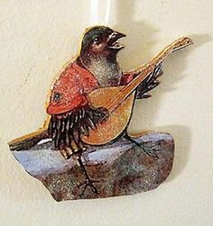 bird playing mandolin